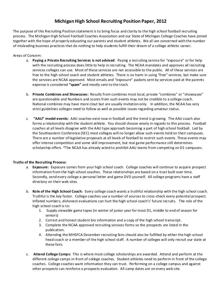 Michigan High School Recruiting Position Paper, 2012The purpose of this Recruiting Position statement is to bring focus an...