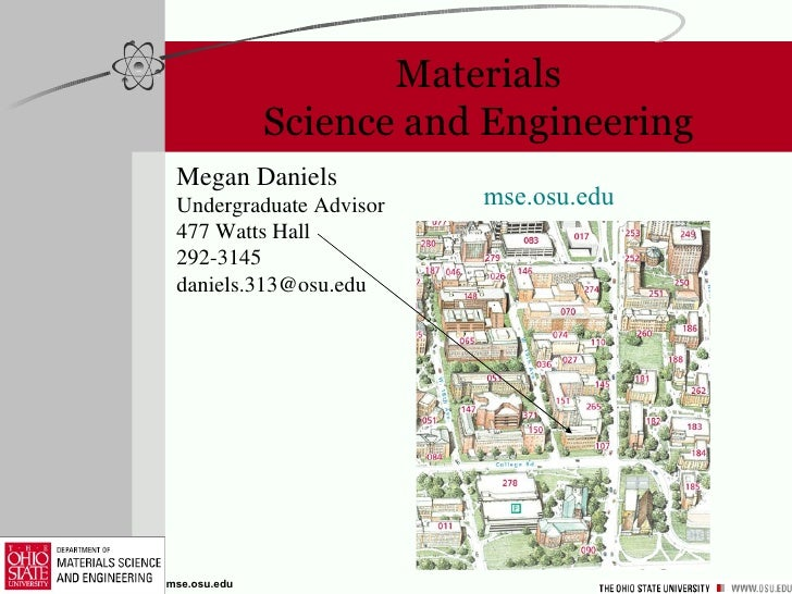 Materials Science and Engineering Megan Daniels Undergraduate Advisor 477 Watts Hall 292-3145 [email_address] mse . osu . ...