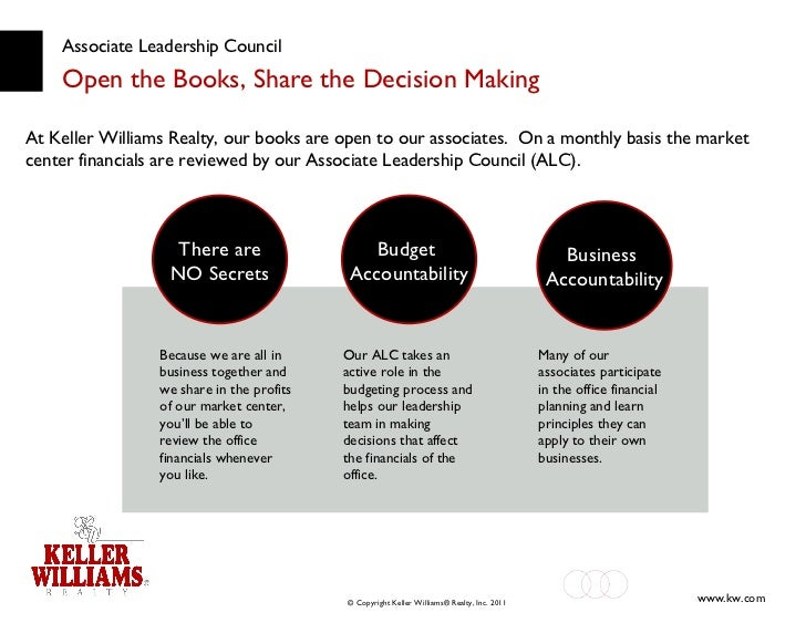 Associate Leadership Council Open the Books, Share the Decision Making At Keller Williams Realty,   our books are open to ...