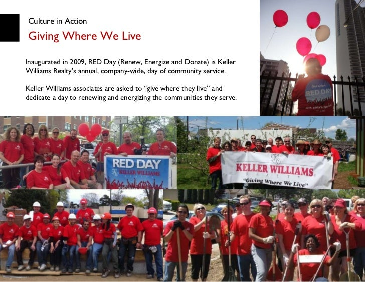 Culture in Action Giving Where We Live Mary Tennant, President and COO Inaugurated in 2009, RED Day (Renew, Energize and D...