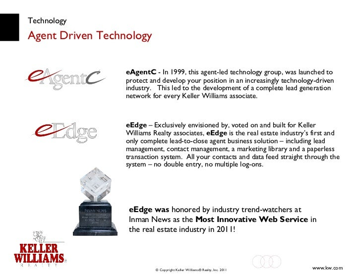 Technology Agent Driven Technology eEdge was  honored by industry trend-watchers at Inman News as the  Most Innovative Web...