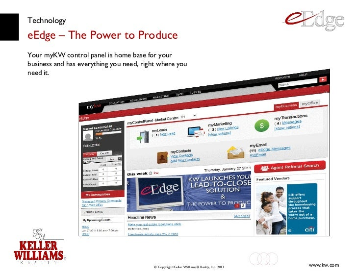 Technology eEdge – The Power to Produce Your myKW control panel is home base for your business and has everything you need...