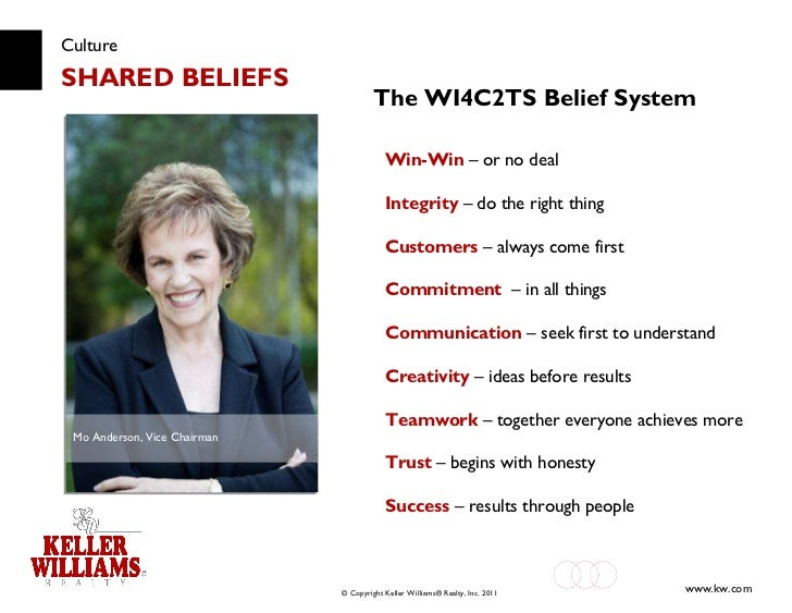 Culture SHARED BELIEFS Win-Win  – or no deal Integrity  – do the right thing Customers   – always come first Commitment  –...
