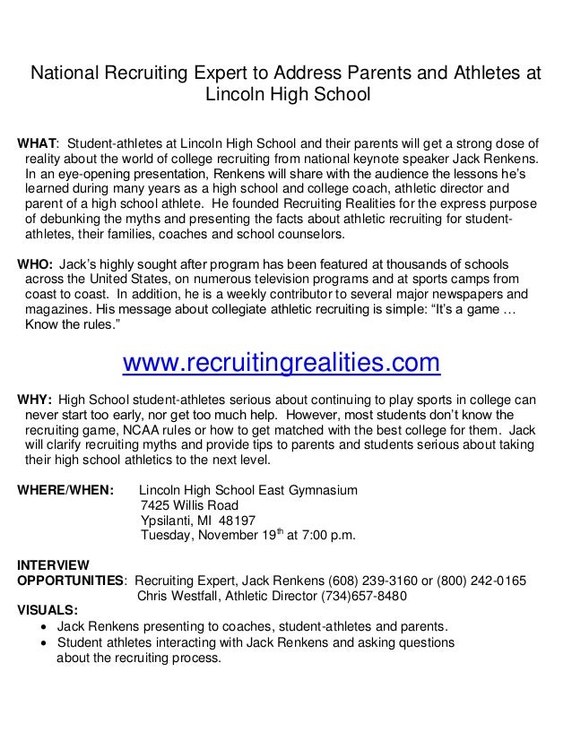 National Recruiting Expert to Address Parents and Athletes at Lincoln High School WHAT: Student-athletes at Lincoln High S...