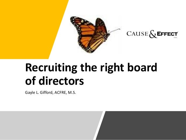 Recruiting the right board of directors Gayle L. Gifford, ACFRE, M.S.