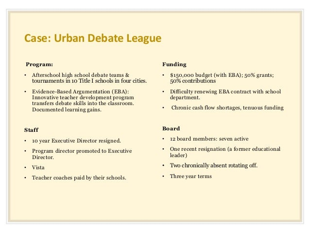 Case: Urban Debate League Program: • Afterschool high school debate teams & tournaments in 10 Title I schools in four citi...