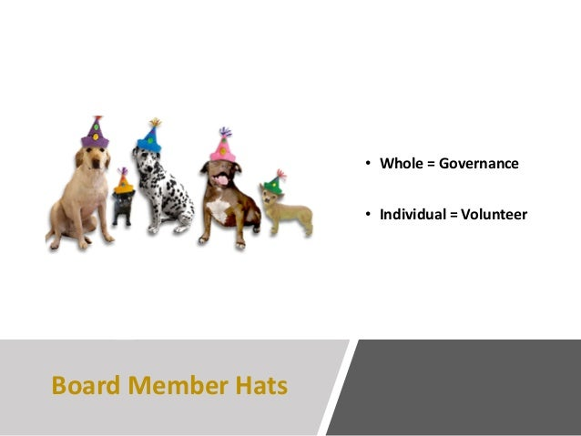 Board Member Hats • Whole = Governance • Individual = Volunteer