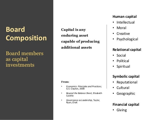 Board Composition Board members as capital investments Capital is any enduring asset capable of producing additional asset...