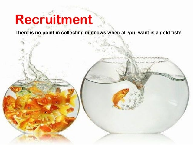 RecruitmentThere is no point in collecting minnows when all you want is a gold fish!