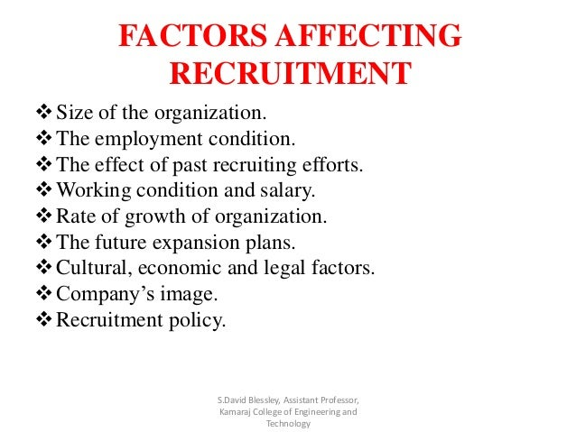 economic factors affecting recruitment