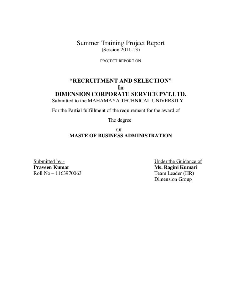 Summer Training Project Report                               (Session 2011-13)                              PROJECT REPORT...