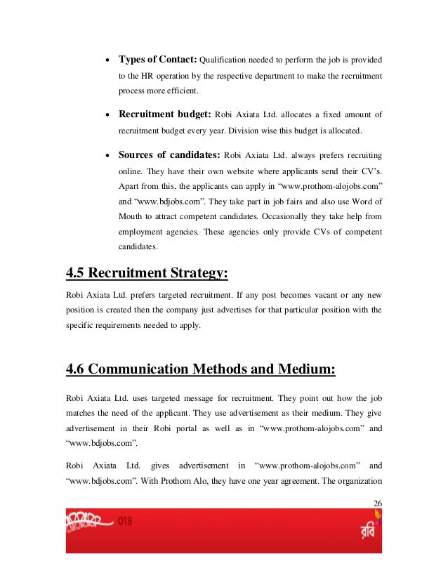 Recruitment and selection process of robi axiata ltd  recruitment and…