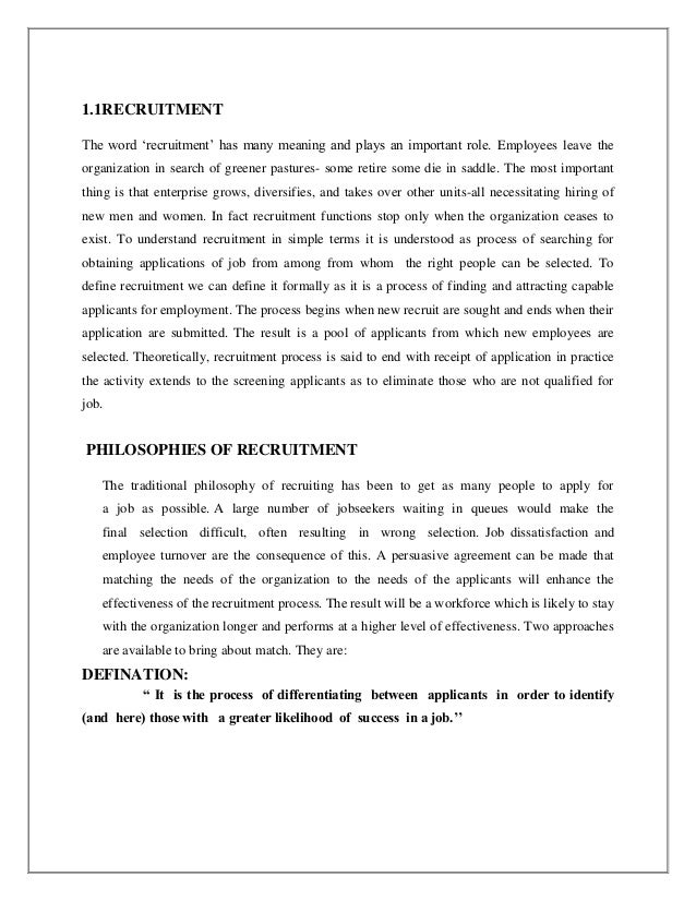 recruitment and selection project synopsis Hr synopsis , training effectivness at mrf goa , recruitment-and-selection - general (fit for all industries.