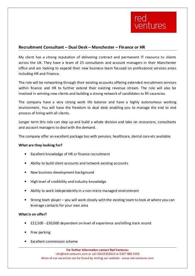 Recruitment Consultant – Dual Desk – Manchester – Finance or HRMy client has a strong reputation of delivering contract an...