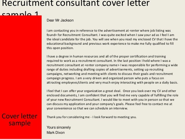 Cover Letter Recruitment Consultant - Recruitment consultant ...