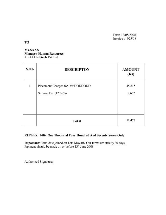 Recruitment Firm Invoice Sample - Formal invoice sample