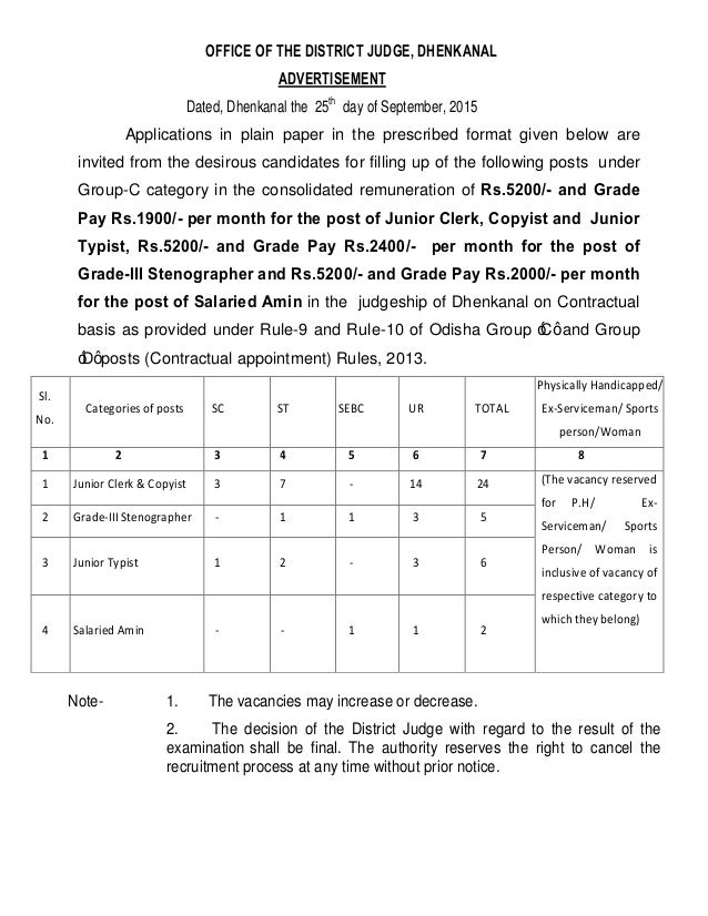OFFICE OF THE DISTRICT JUDGE, DHENKANAL ADVERTISEMENT Dated, Dhenkanal the 25th day of September, 2015 Applications in pla...