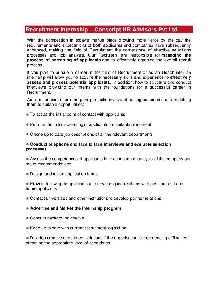 Recruitment Internship – Conscript HR Advisors Pvt Ltd<br />With the competition in today's market place growing more fier...