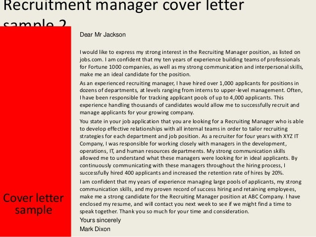 Yours Sincerely Mark Dixon; 3. Recruitment Manager Cover Letter ...