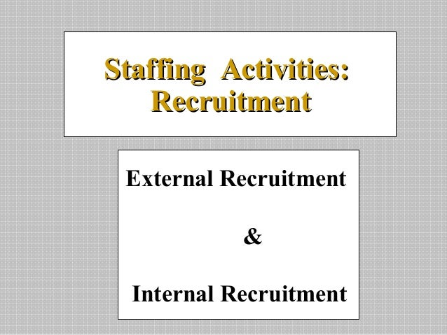 External Recruitment&Internal RecruitmentStaffing Activities:Staffing Activities:RecruitmentRecruitment
