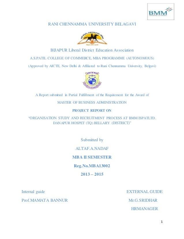 1 RANI CHENNAMMA UNIVERSITY BELAGAVI BIJAPUR Liberal District Education Association A.S.PATIL COLLEGE OF COMMERCE, MBA PRO...