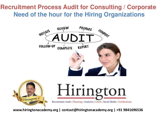 Recruitment Process Audit for Consulting / Corporate Need of the hour for the Hiring Organizations www.hiringtonacademy.or...