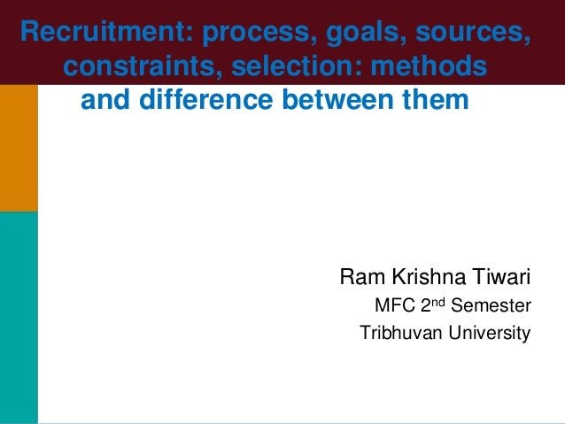 Recruitment: process, goals, sources, constraints, selection: methods and difference between them Ram Krishna Tiwari MFC 2...