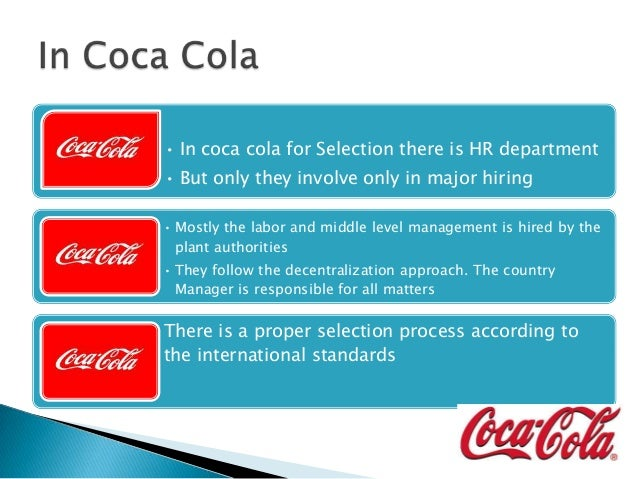 Recruitment & selection by coca cola co