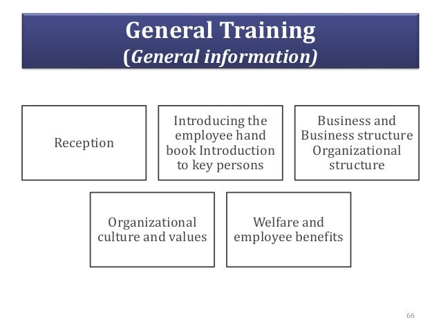 General Training (General information) Reception Introducing the employee hand book Introduction to key persons Business a...