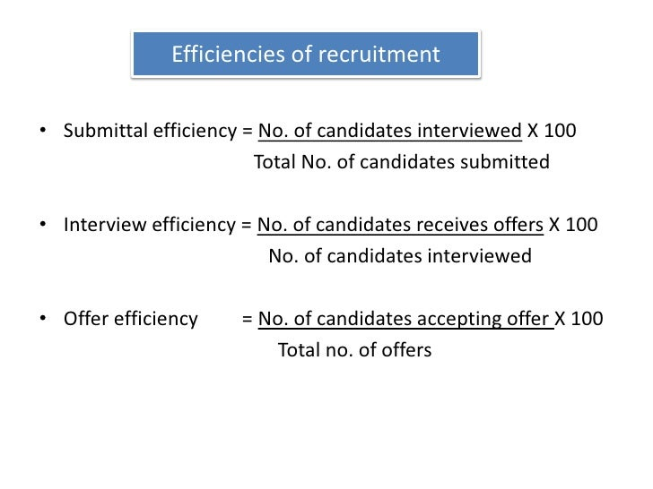 Efficiencies of recruitment<br />Submittal efficiency = No. of candidates interviewed X 100<br />                         ...