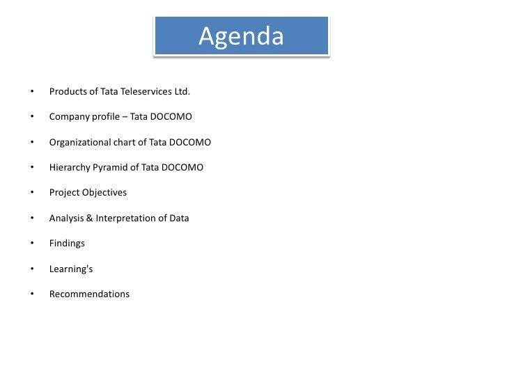 Agenda<br />Products of Tata Teleservices Ltd.<br />Company profile – Tata DOCOMO<br />Organizational chart of Tata DOCOMO...