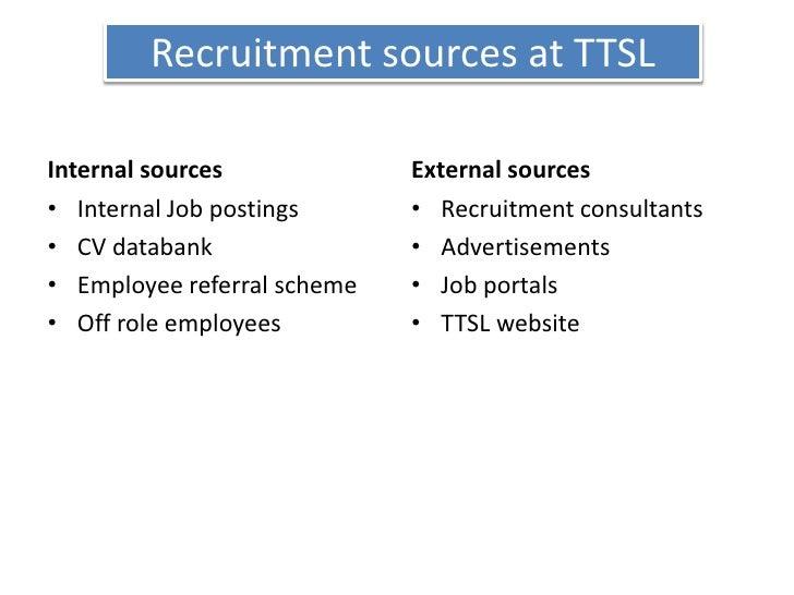 Recruitment sources at TTSL<br />Internal sources<br />Internal Job postings<br />CV databank<br />Employee referral schem...