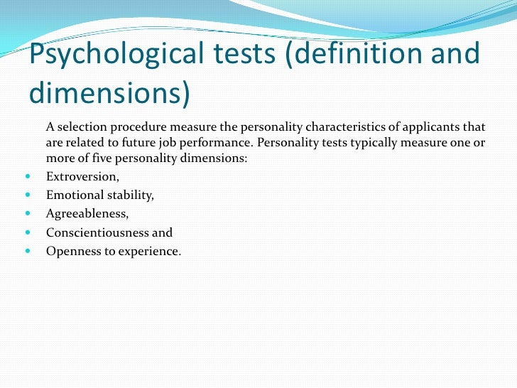 psychological testing for employment purposes