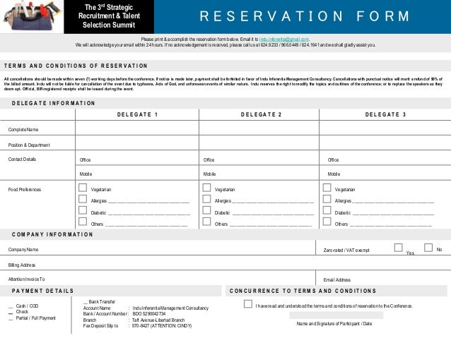 Sample Reservation Forms All Reservation Requests Last Year Were