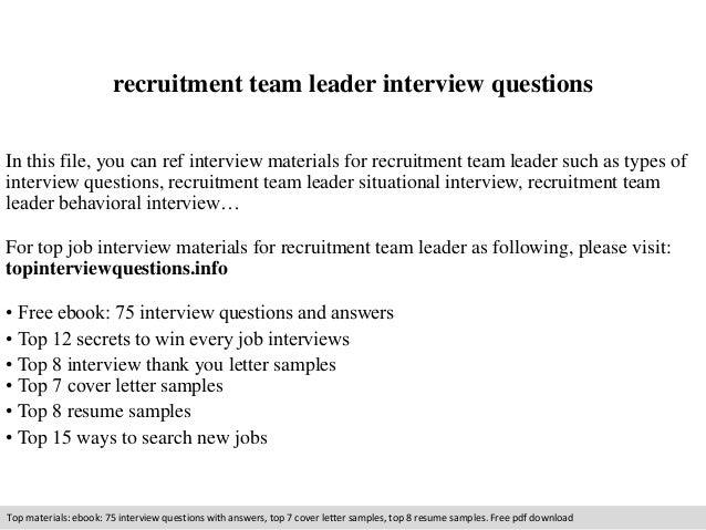 Recruitment team leader interview questions