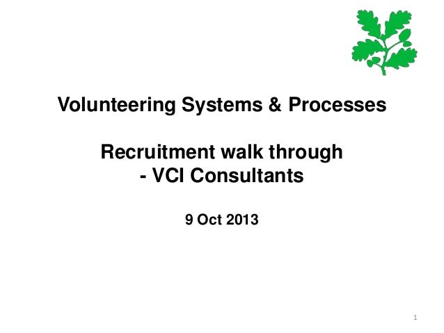 Volunteering Systems & Processes Recruitment walk through - VCI Consultants 9 Oct 2013  1
