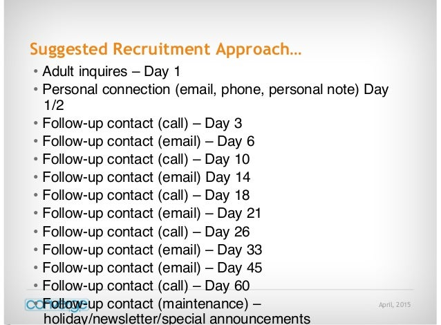 April, 2015 Suggested Recruitment Approach… • Adult inquires – Day 1 • Personal connection (email, phone, personal note) D...