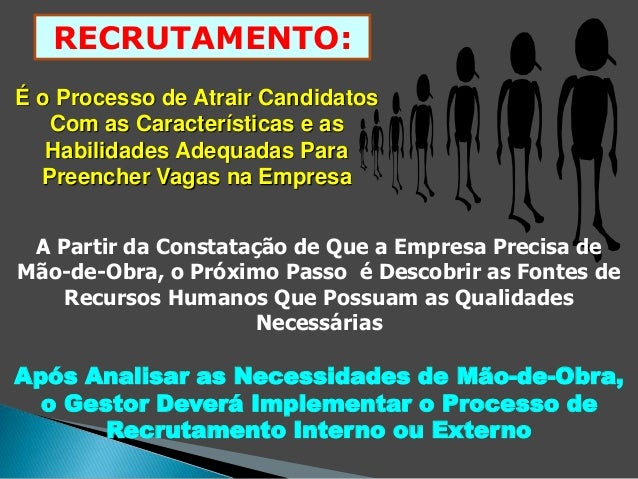 RECRUTAMENTO:  É o Processo de Atrair Candidatos  Com as Características e as  Habilidades Adequadas Para  Preencher Vagas...