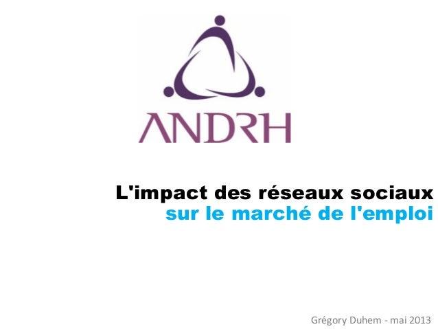 L'impact des réseaux sociaux sur le marché de l'emploi  Grégory Duhem -mai 2013