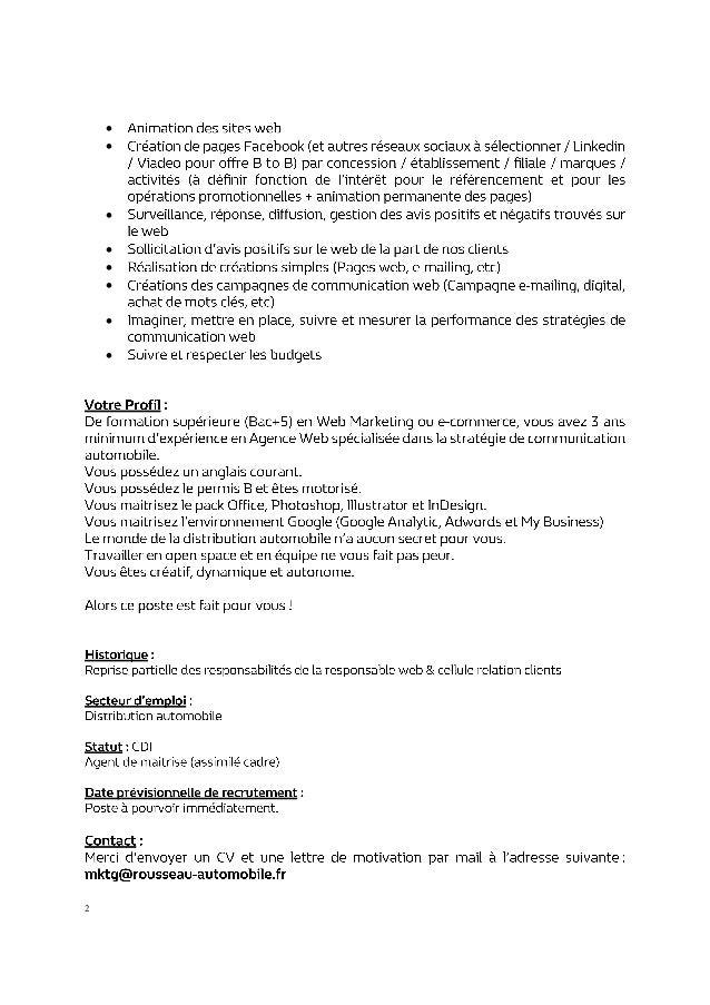 Recrutement Chargé De Mission Webmarketing Opérationnel