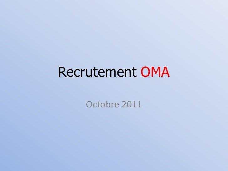 Recrutement OMA<br />Octobre 2011<br />