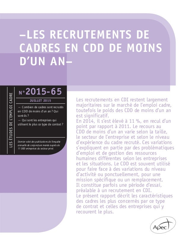 –LES RECRUTEMENTS DE CADRES EN CDD DE MOINS D'UN AN– LESÉTUDESDEL'EMPLOICADRE — Combien de cadres sont recrutés en CDD de ...
