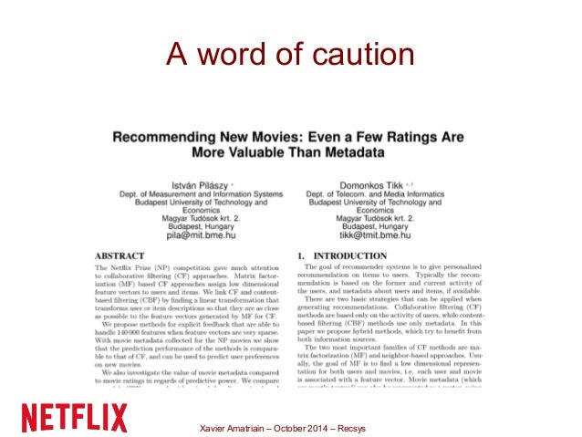 Recsys 2014 tutorial the recommender problem revisited a word of caution xavier amatriain october 2014 recsys ibookread ePUb