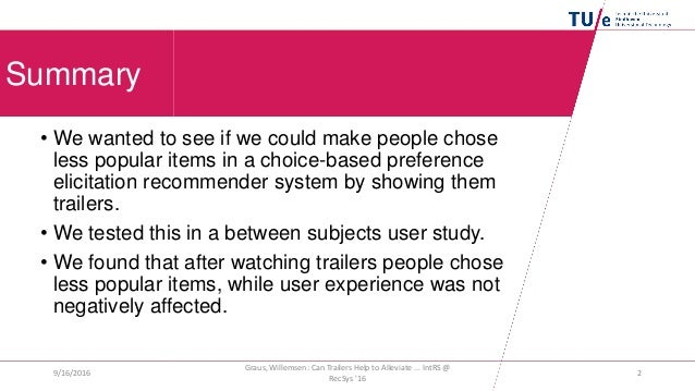Can Trailers Help to Alleviate Popularity Bias in Choice-Based Preference Elicitation? Slide 2