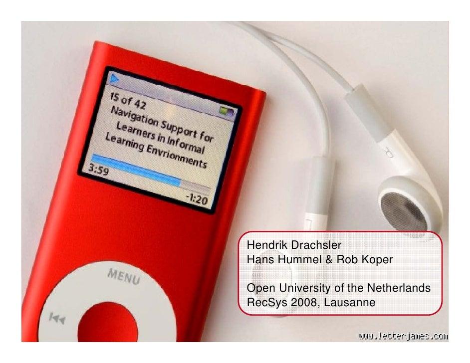 Titel presentatie       Sub-titel      Door: Inez Bosch                  Hendrik Drachsler              Hans Hummel & Rob ...