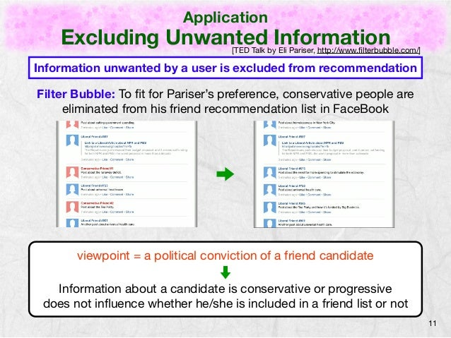 Application  Excluding Unwanted Information  11  [TED Talk by Eli Pariser, http://www.filterbubble.com/]  Information unwa...