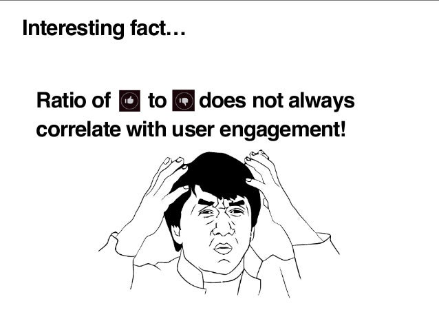 Interesting fact… Ratio of to does not always correlate with user engagement!