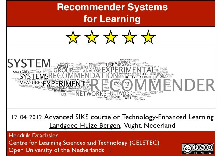 Recommender Systems                    for Learning12. 04. 2012 Advanced SIKS course on Technology-Enhanced Learning      ...
