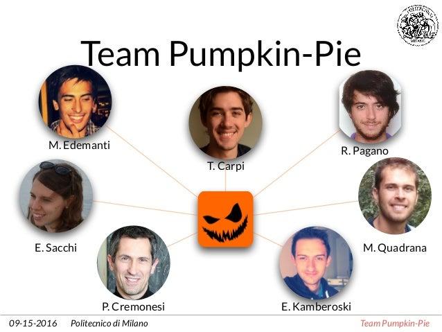 Politecnico di Milano Team Pumpkin-Pie09-15-2016 Team Pumpkin-Pie T. Carpi M. Edemanti E. Kamberoski E. Sacchi R. Pagano P...