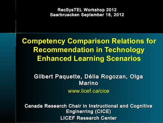 RecSysTEL Workshop 2012          Saarbruecken September 18, 2012Competency Comparison Relations for  Recommendation in Tec...